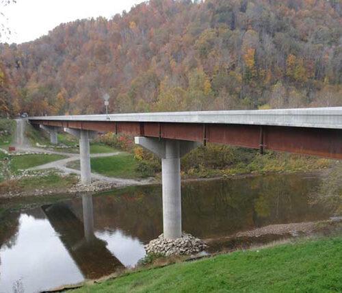 4-span Hartland Bridge over water