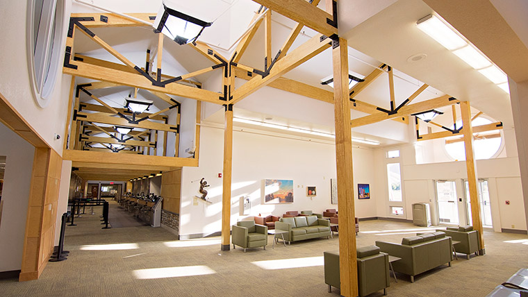 High ceilings and seating at Friedman Airport