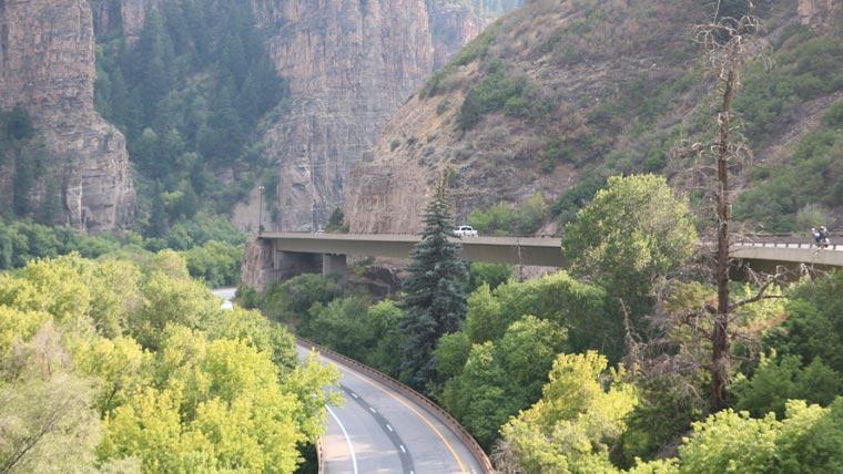 Bird's eye view of I-70 through Glenwood Canyon