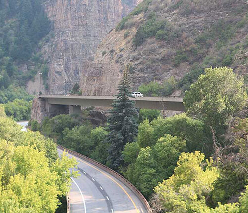 I-70 highway and structures through Vail Pass