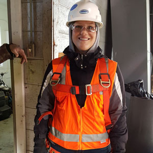 Jackie Hader in safety gear