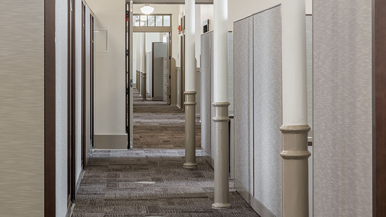 Interior hallway at Jefferson Barracks