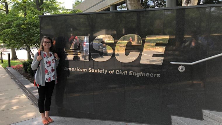 Jennifer Smith in front of ASCE sign