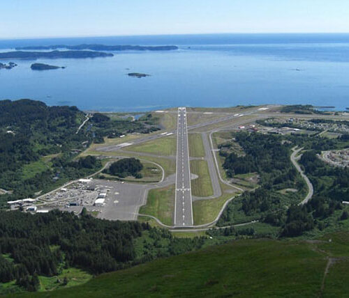 Aerial of Kodiak Airport runway