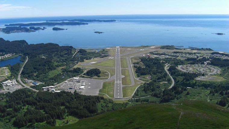 Aerial of Kodiak Airport runway