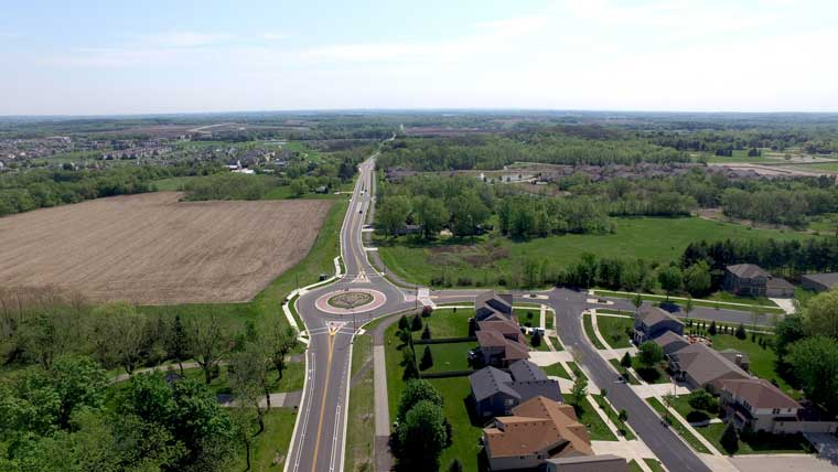 View of new roundabout on Lacy Road