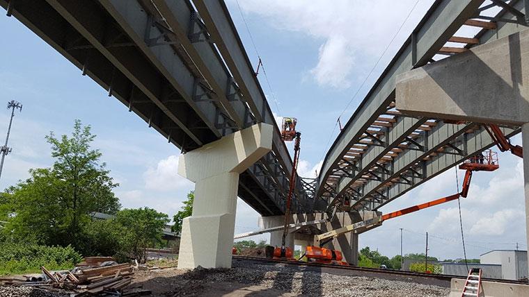 Interstate bridge ramp substructure rehabilitation