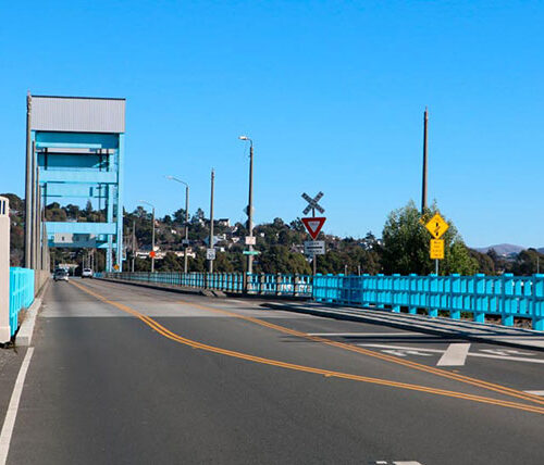 Mare Island Bridge with blue sky