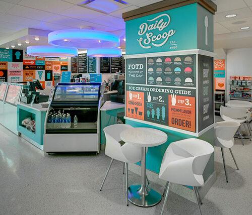 Interior of Memorial Union with ice cream shop area