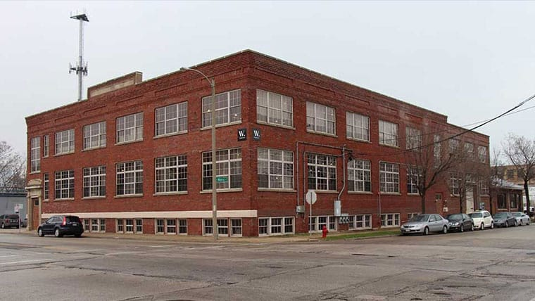 Exterior of historic red building in Milwaukee