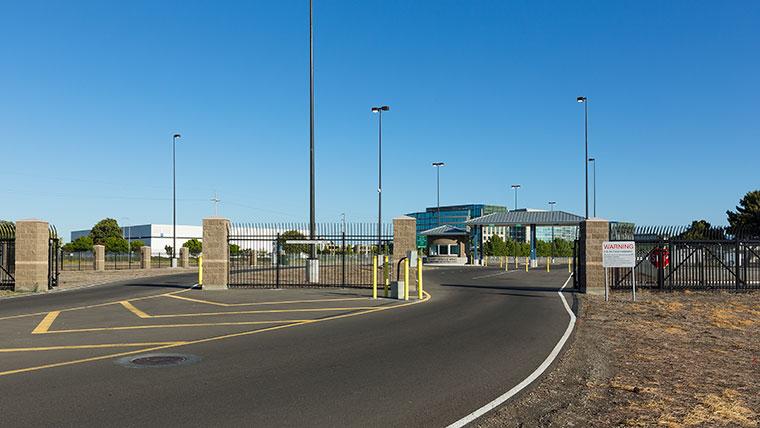 Newly paved drive-up to Moffett ANG main gate