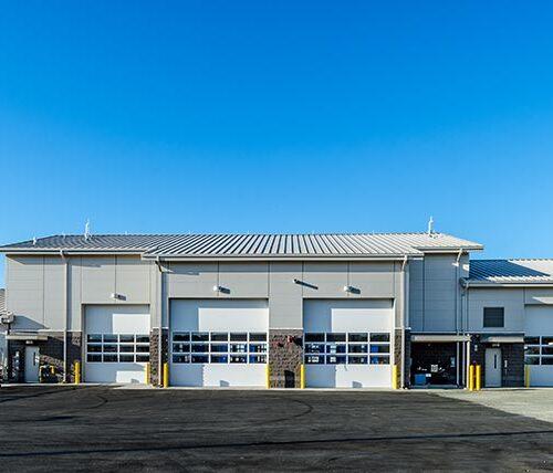 Exterior of Moffett ANGB vehicle maintenance facility