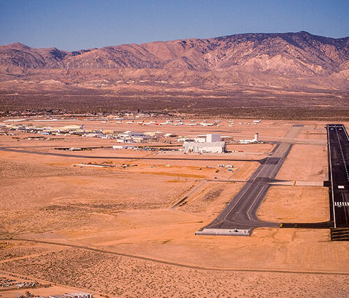 Approach view of Mojave Airport runway