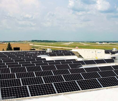 Solar panels at Dane County Regional Airport
