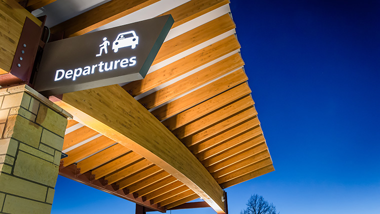 Overhang with departure sign