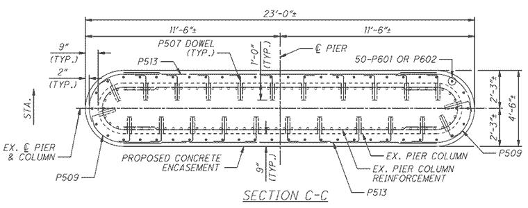 Diagram of T-type pier stem section