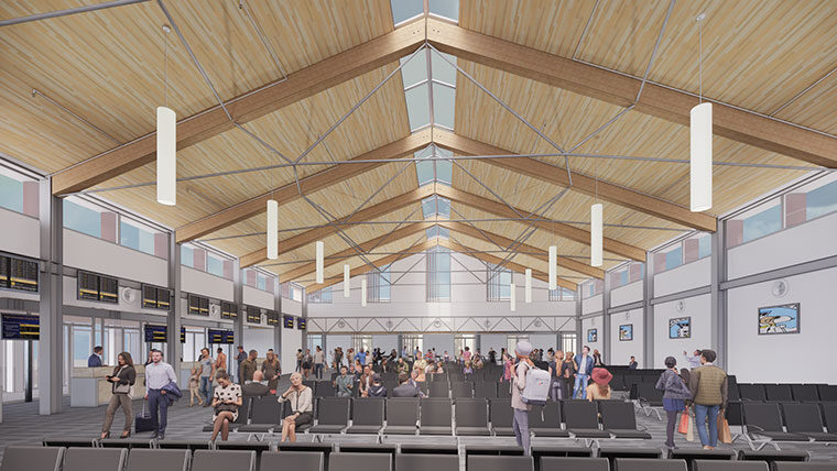 Rendering of interior hold room at Sonoma County Airport