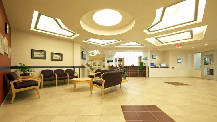 Southwest Technical College lobby with decorative ceiling