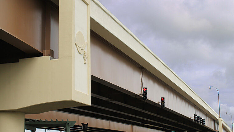 Sideview of Backgate Bridge with decorative logo embedded