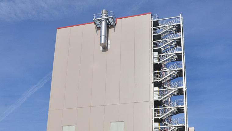 Skim milk plant tower with stairwells