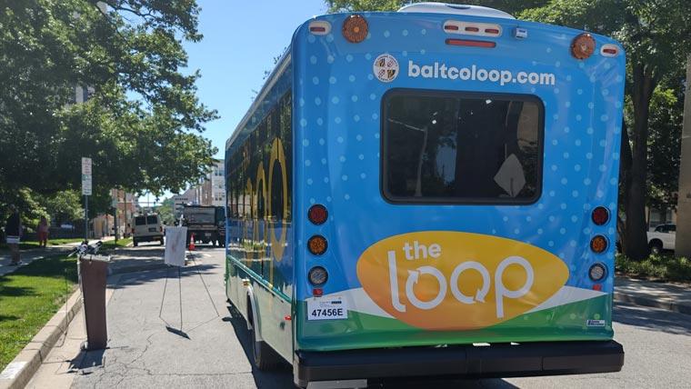 Towson Loop back of transit bus