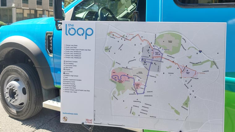 Route planning map for Towson loop