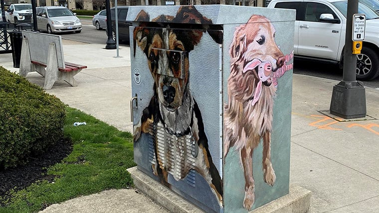 Artwork of pets on traffic signal box