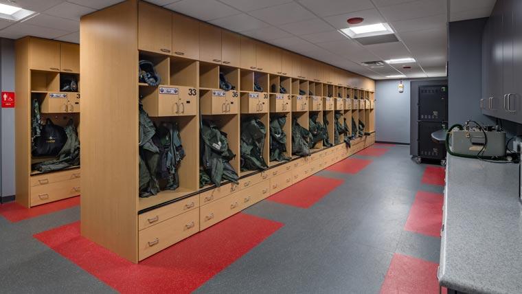 Locker room at Truax Field Squadron Ops Building