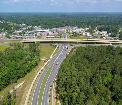 Overhead view of Backgate Bridge and US 17