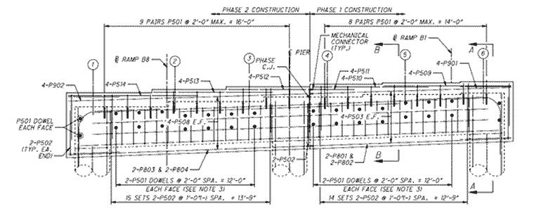 cap and column pier cap elevation view