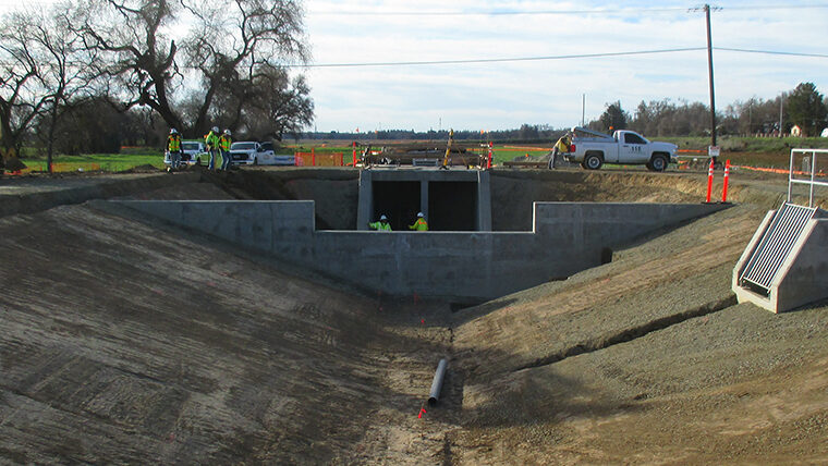 construction of levee for riverside project