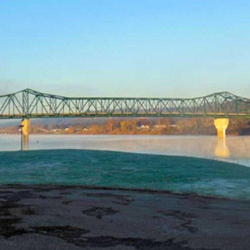 Huntington levee under bridge