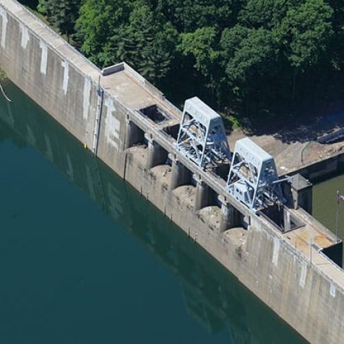 Sideview of Mahoning Creek Dam