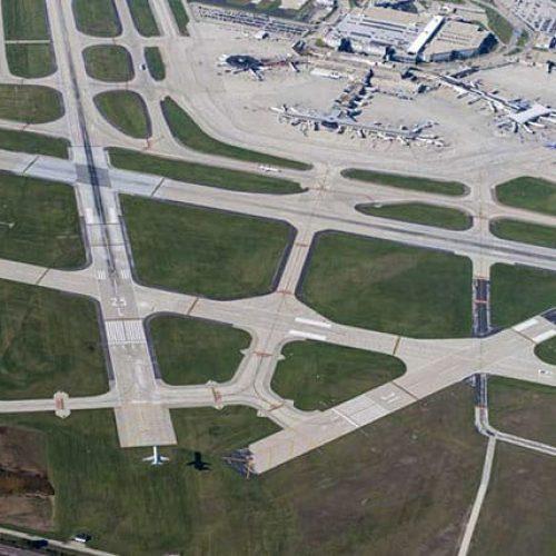 Aerial of Milwaukee Mitchell International Airport runways
