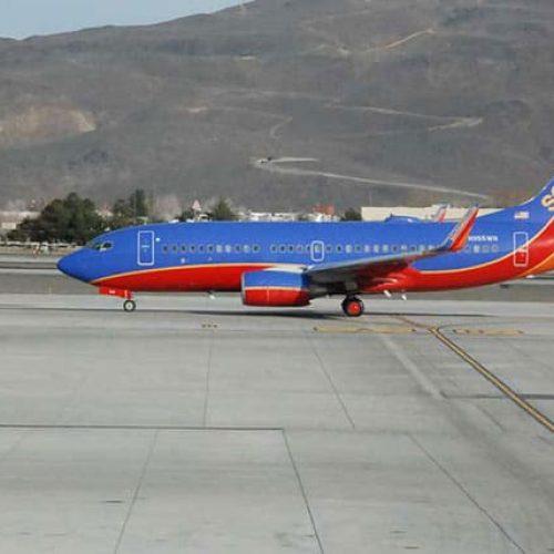 Plane landing on runway Reno-Tahoe Airport