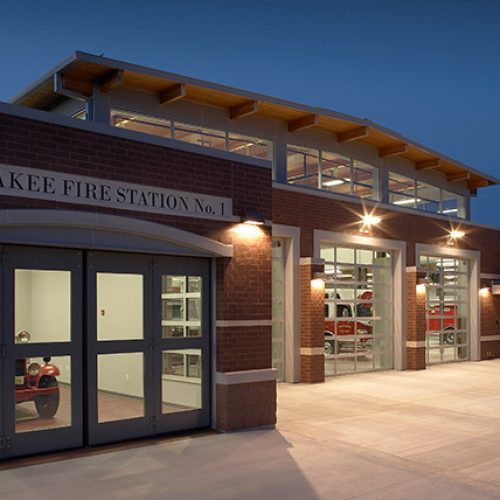 Exterior of Waunakee fire station at night