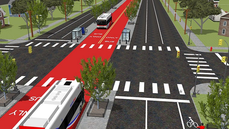 Transit bus route rendering