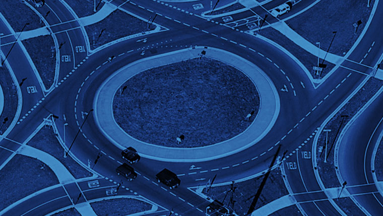 Roundabout with blue overlay